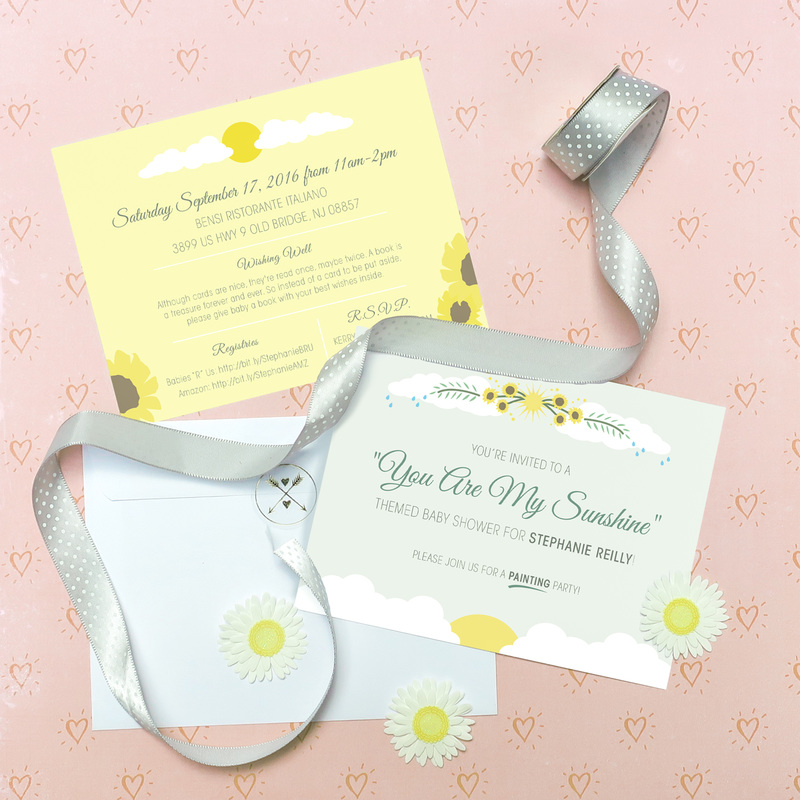 You Are My Sunshine themed baby shower invites | thethumbprint.com
