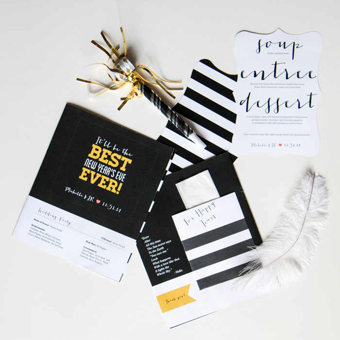 Black and white striped wedding stationary set | thethumbprint.com