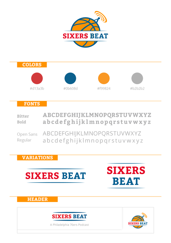 Logo and Brand Identity for Sixers Beat basketball podcast